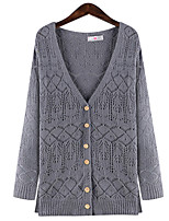 Women's Geometric / Solid Blue / Gray Cardigan , Vintage / Casual / Party / Work / Plus Sizes Long Sleeve