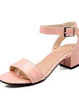 Women's Shoes Leatherette Chunky Heel Ankle Strap / Styles Sandals Outdoor / Casual Green / Pink / White
