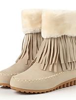 Women's Shoes Fleece Flat Heel Fashion Boots / Round Toe Boots Dress / Casual Beige