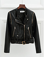 Women's Solid White / Black Jackets , Vintage / Casual Shirt Collar Long Sleeve