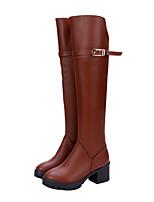Chaussures Femme - Bureau & Travail / Habillé / Décontracté - Noir / Marron - Gros Talon - Bout Arrondi / Bout Fermé - Bottes - Similicuir