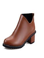 Scarpe Donna - Stivali - Ufficio e lavoro / Formale / Casual - A punta / Chiusa - Quadrato - Finta pelle - Nero / Marrone / Rosso