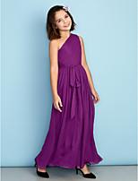 Vestido de Daminha de Honra - Uva Linha-A Assimétrico Longuete Chiffon