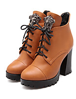Women's Shoes Leatherette Chunky Heel Combat Boots Boots Casual Black / Yellow / Red