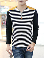 Men's Long Sleeve T-Shirt , Cotton / Elastic Casual / Work / Formal / Sport Striped Pure cotton and wool thickening