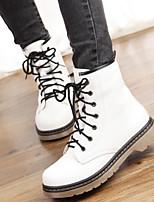 Zapatos de mujer - Tacón Bajo - Comfort / Punta Redonda - Botas - Casual - Semicuero - Negro / Rojo / Blanco