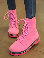 Women's Shoes Candy Color Low Heel Motorcycle Boots Round Toe Boots Casual