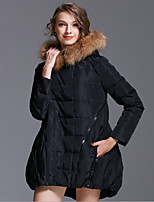Women's Solid White / Black / Gray Parka Coat , Casual Hooded Long Sleeve
