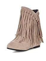 Women's Shoes Wedge Heel Fashion Boots / Round Toe Boots Casual Black / Brown / Yellow / Beige