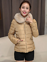 Women's Solid Pink / Red / Black / Green / Camel / Gray Parka Coat , Casual Shirt Collar Long Sleeve