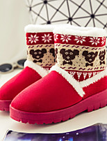 Women's Shoes Low Heel Round Toe Boots Casual Brown / Pink / Red