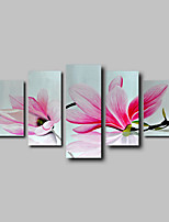 Hand-Painted Oil Painting on Canvas Wall Art Pink Magnolia Flowes Abstract Five Panel Ready to Hang