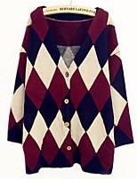 Women's Geometric Red Cardigan , Casual Long Sleeve