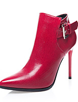 Women's Boots Fall / Winter Comfort / Pointed Toe / Closed Toe  Casual Stiletto Heel Buckle Black / Red / Gray Walking