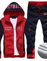 Men's Sports Slim Thick Letters Printed Hooded Suit , Cotton / Polyester Print