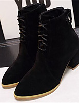 Women's Shoes Suede Chunky Heel Pointed Toe Boots Casual Black / Brown