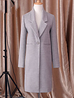 Women's Solid Gray Coat , Casual/Party/Work/Plus Sizes Long Sleeve Fur
