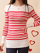 Women's Striped Red / Navy Blue Pullover , Sexy / Casual Long Sleeve