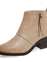Zapatos de mujer - Tacón Bajo - Punta Redonda - Botas - Oficina y Trabajo / Vestido / Casual / Fiesta y Noche - Semicuero - Negro / Beige