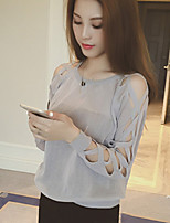 Women's Character Hollow Out Sleeve Thin Pullover , Casual Long Sleeve