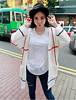 Women's Geometric White Cardigan , Casual Long Sleeve