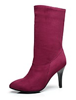 Women's Shoes Fleece Stiletto Heel / Fashion Boots / Pointed Toe Boots Dress / Casual Black / Purple