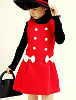 Girl's Blue / Red / Yellow Dress , Bow Cotton Winter / Spring / Fall