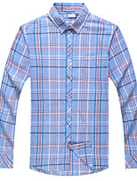 Men's Cotton Casual Long Sleeve Plaid Shirts