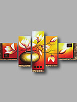 Hand-Painted Oil Painting on Canvas Wall Art Modern Flowers White Magnolia Brown Five Panel Ready to Hang