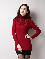 Women's Solid Red / Black Pullover , Casual Long Sleeve