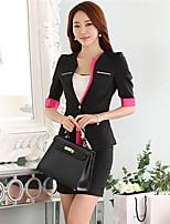 Women's Solid Red / Black Blazer , Work / Plus Sizes Deep V ½ Length Sleeve
