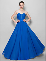 Floor-length Chiffon / Lace Bridesmaid Dress - Royal Blue A-line Sweetheart