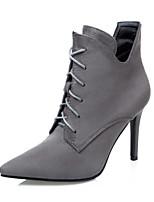 Zapatos de mujer - Tacón Stiletto - Tacones / Puntiagudos / Punta Cerrada - Botas - Vestido - Ante - Negro / Rojo / Gris