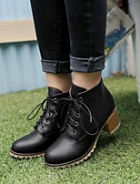 Women's Shoes Leatherette Chunky Heel Combat Boots / Round Toe / Office & Career / Casual Black / Blue / Pink / Beige
