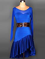 Vestidos ( Preto / Roxo / Vermelho / Royal Blue / Borgonha / Multi-Côr , Elastano , Dança Latina / Espetáculo / Samba ) - deDança Latina