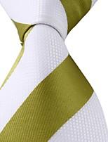 New Striped White Green Jacquard Woven Silk Men Tie Necktie
