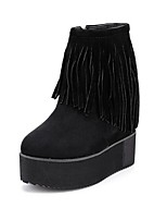 Women's Shoes  Wedge Heel Bootie / Round Toe Boots Outdoor / Casual Black / Red