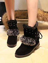 Women's Shoes Low Heel Round Toe Boots Casual Black / Red