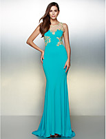 Vestido - Azul Oceano Festa Formal Sereia U profundo Sweep / Brush Train Jersey
