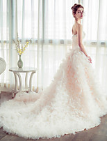 Ball Gown Wedding Dress - Champagne Chapel Train Strapless Tulle