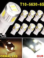10X T10 White High Power 5630 6-SMD Interior Reverse LED Light Bulb 921 912 906