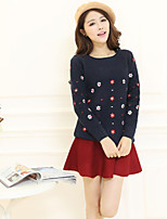 Women's Solid Blue / Red / White Pullover , Casual Long Sleeve