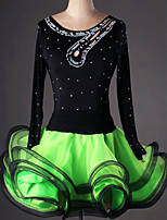 Latin Dance Dresses&Skirts Women's Performance / Training Spandex / Crepe / Viscose Crystals/Rhinestones / Ruched