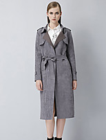 Women's Solid / Patchwork Yellow / Gray Coat , Casual Long Sleeve Suede