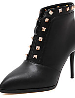 Women's Shoes Leatherette Stiletto Heel Fashion Boots Boots Outdoor / Casual Black