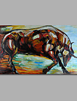 Hand-Painted Oil Painting on Canvas Wall Art Heavy Oils Animals Bull Home Deco One Panel Ready to Hang