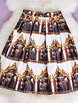 New Fashion Women's Pearly Fabrics Elegant Khaki Printing Slim Elastic Waist Skirts