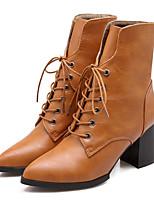 Zapatos de mujer - Tacón Robusto - Botas a la Moda - Botas - Exterior / Vestido / Casual - Semicuero - Negro / Amarillo / Rojo