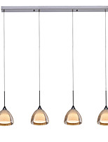 obsess® ge-09011-4-1 4-lumière deux couches île pendentif conduit de lumière, casser le verre, le chrome poli