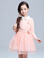 Girl's Pink / Purple Dress , Floral Cotton Blend Winter